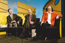 Talkback Classroom's first time voter panel: the Hon. Christopher Pyne, MP, Senator Bob Brown and Senator Jacinta Collins.
