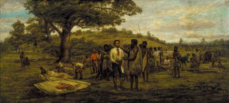 Colour painting of John Batman signing a treaty with Aboriginal people.