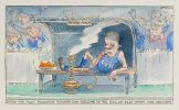 Cartoon of Peter Costello lying casually on the reserve bench at a sports game smoking a water pipe labelled 'leadership ambition'.