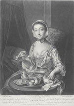 Engraving of a woman enjoying tea.