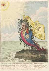 Cartoon by James Gillray that makes fun of Joseph Banks becoming a Knight of the Order of the Bath in 1795.