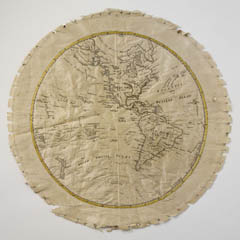 Embroidered map sampler of the western hemisphere of the world as it was understood by Europeans at the end of the 1700s