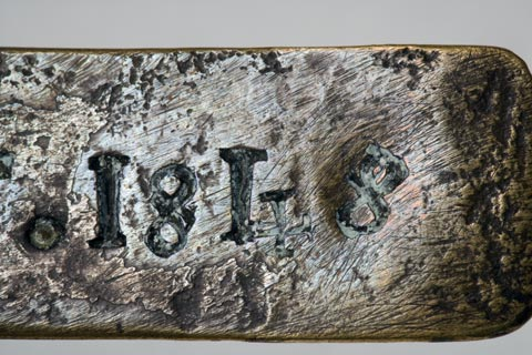Close up image of the '1848' date stamp on the Leichhardt nameplate.
