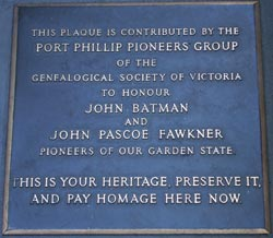 Photo of a plaque commemorating Batman and Fawkner in Melbourne.
