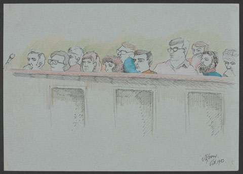 Coloured sketch showing 11 people's faces visible above a wooden jury box. The men and woman are looking to the left.