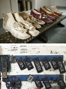 Image compile showing five pairs of ladies shoes at the top and various metallic stencils hanging on a board at the bottom.