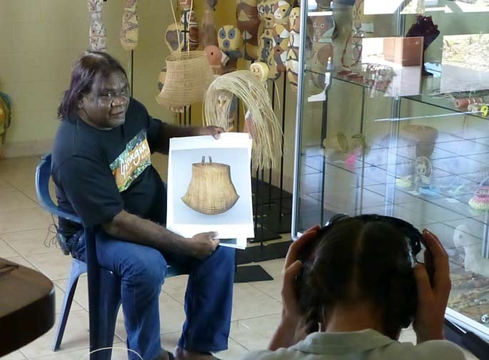 Basket maker Abe Muriata being filmed
