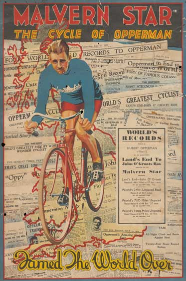 Poster advertising Malvern Star bicycle featuring an illustration of Opperman on a bike
