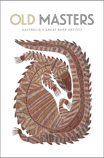 Old Masters catalogue cover featuring an image of 'Totemic Crocodile' by Yirawala, 1965.
