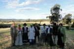 Group of people dressed for re-enactment of Goimbla Homestead bushranger attack