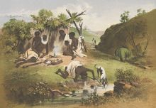 A colour sketch of six Aboriginal people and two dogs camped by a small waterway. A man and a dog drink from the water in the foreground while three adults, two children and a dog sit by a small fire.