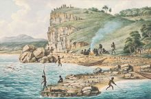 A drawing from 1817 showing Aboriginal people fishing and diving on the New South Wales coast.