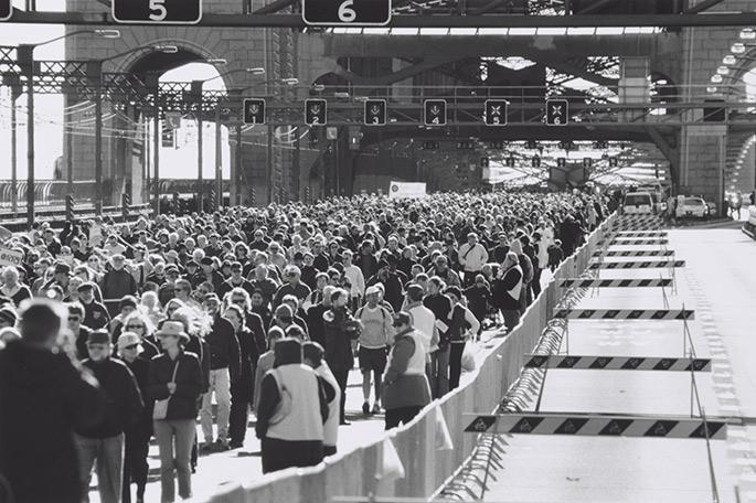 Crowd on bridge