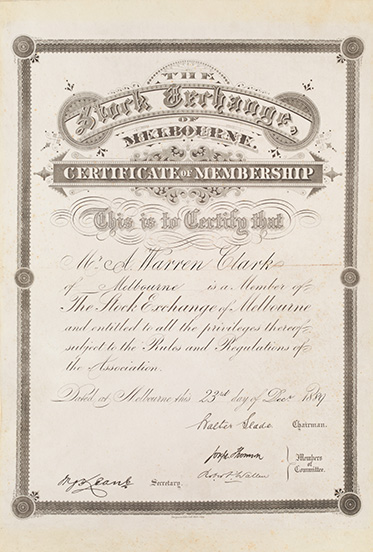 Document with ornate calligraphy, stating 'The Stock Exchange of Melbourne – Certificate of Membership' etc