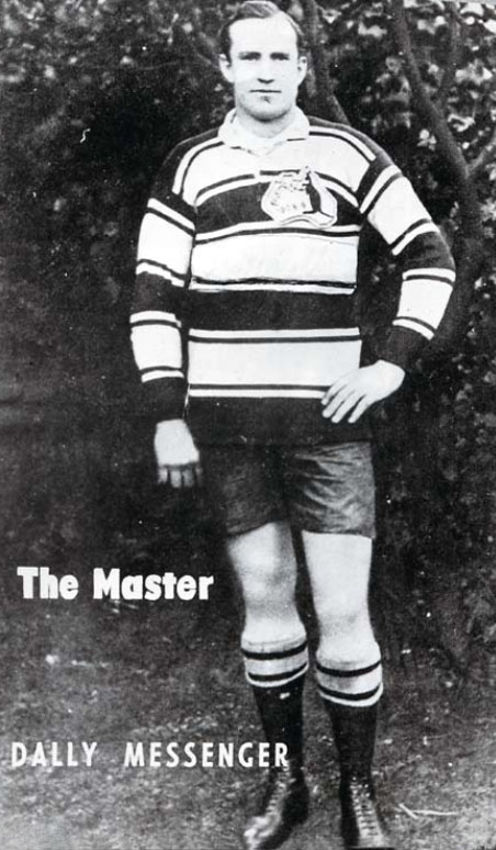 Black and white portrait of Dally Messenger in 1908 wearing the Australian rugby league uniform.
