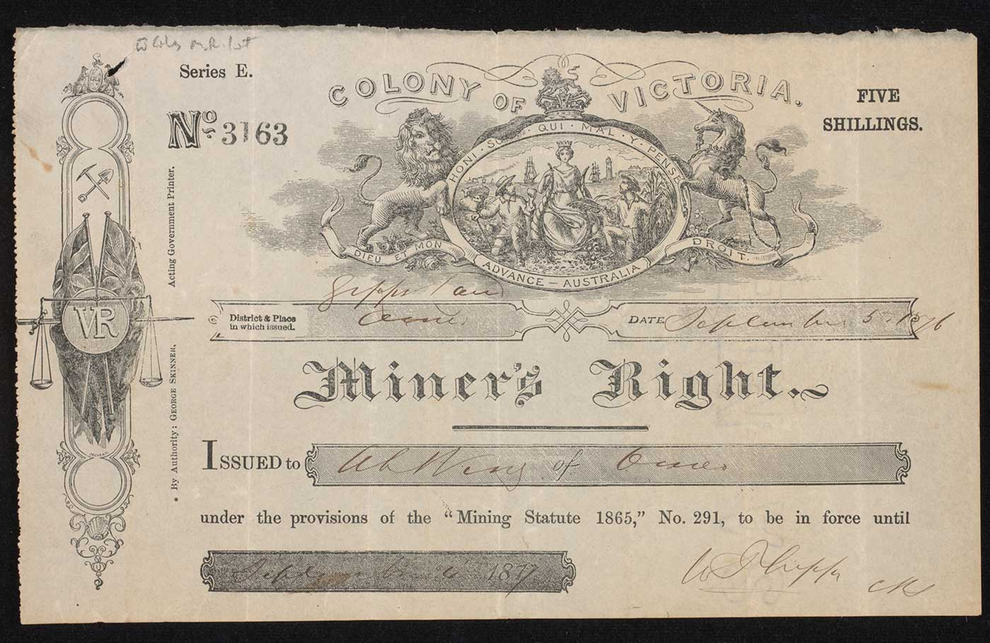 Photograph of a' Miner's Right' printed on paper under a 'COLONY OF VICTORIA' coat of arms. Text has been handwritten in several places. - click to view larger image