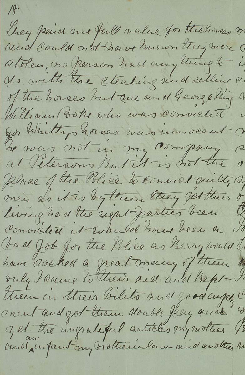 Page eighteen of Ned Kelly's Jerilderie letter. - click to view larger image