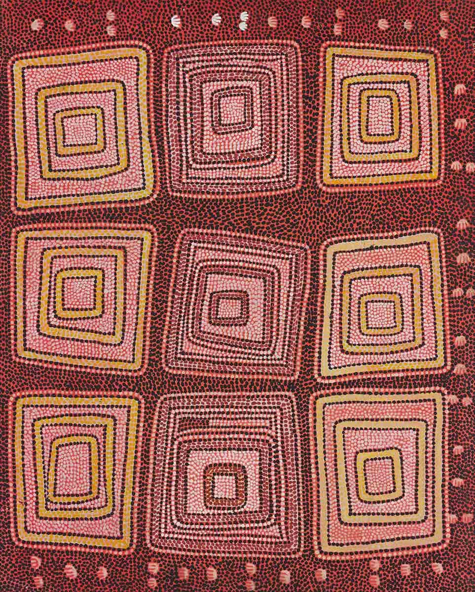 Possum Men of Yirtjurunya (Yiitjurunya) 1974 by Anatjari (Yanyatjarri) Tjakamarra. - click to view larger image