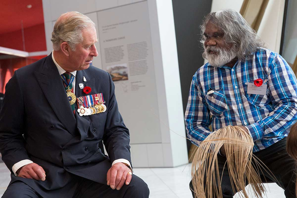 His Royal Highness, The Prince of Wales joins Girramay Traditional Owner and master basket maker Abe Muriata at the National Museum.