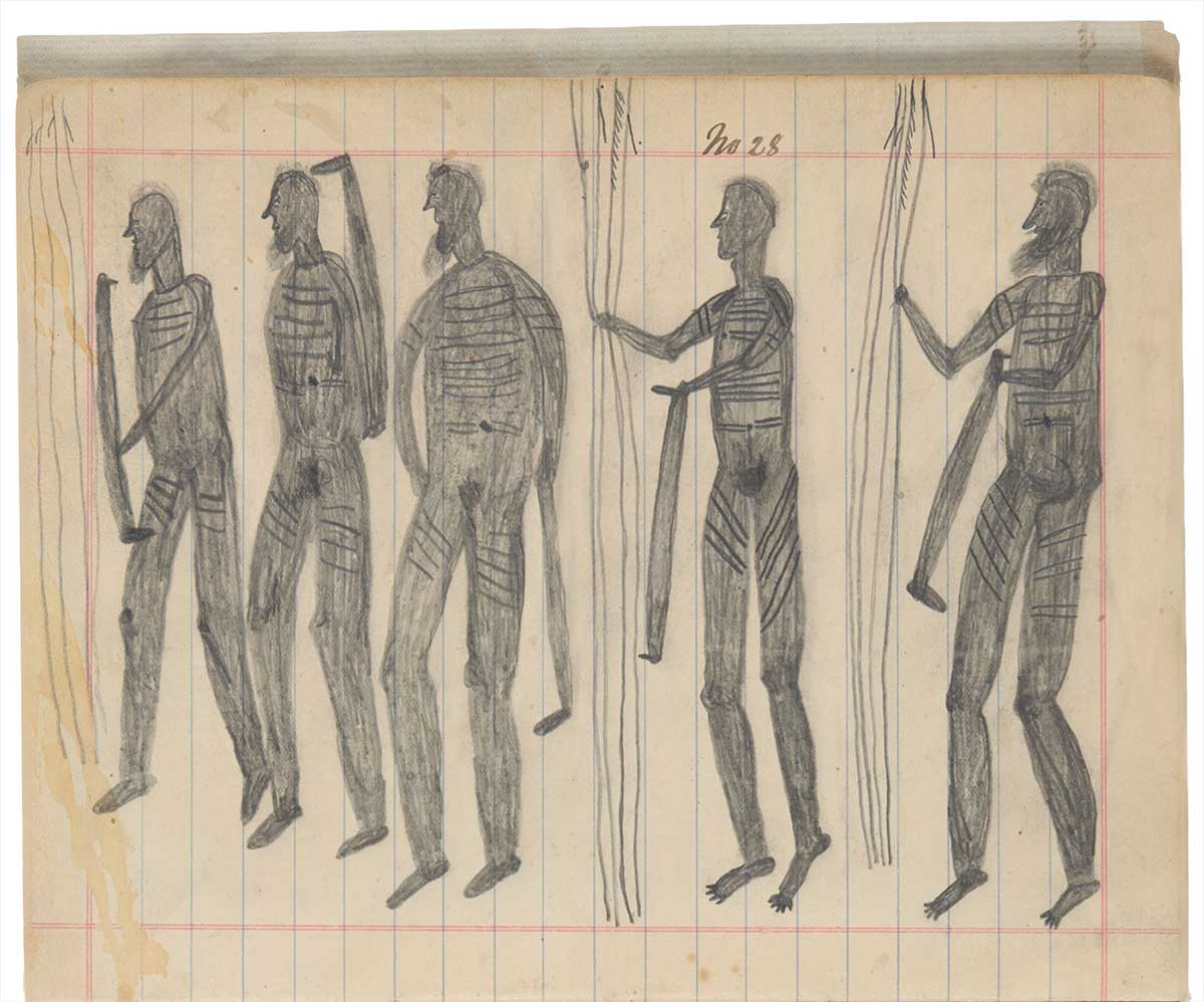Sketchbook drawing of five naked figures with markings on their bodies. - click to view larger image