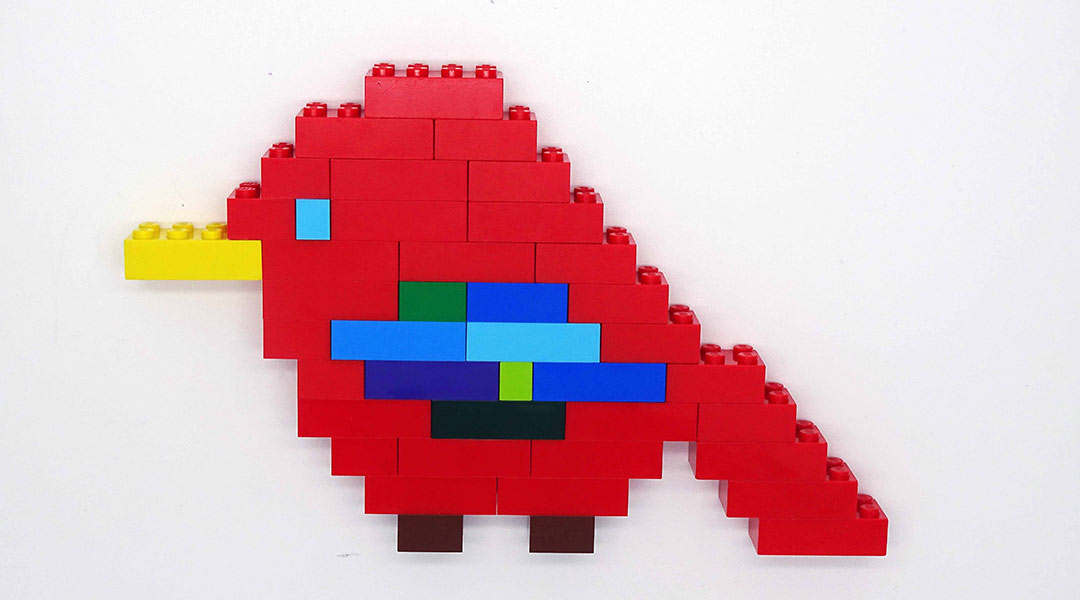 A model bird made from LEGO bricks.