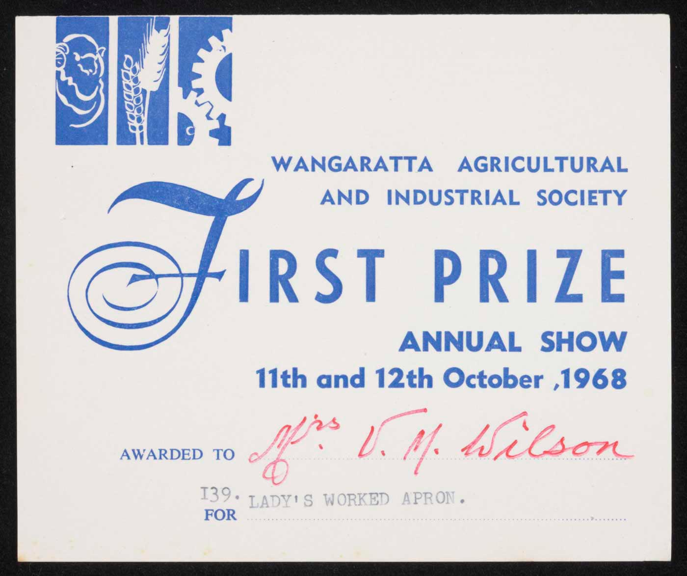 Wangaratta show first prize certificate. - click to view larger image