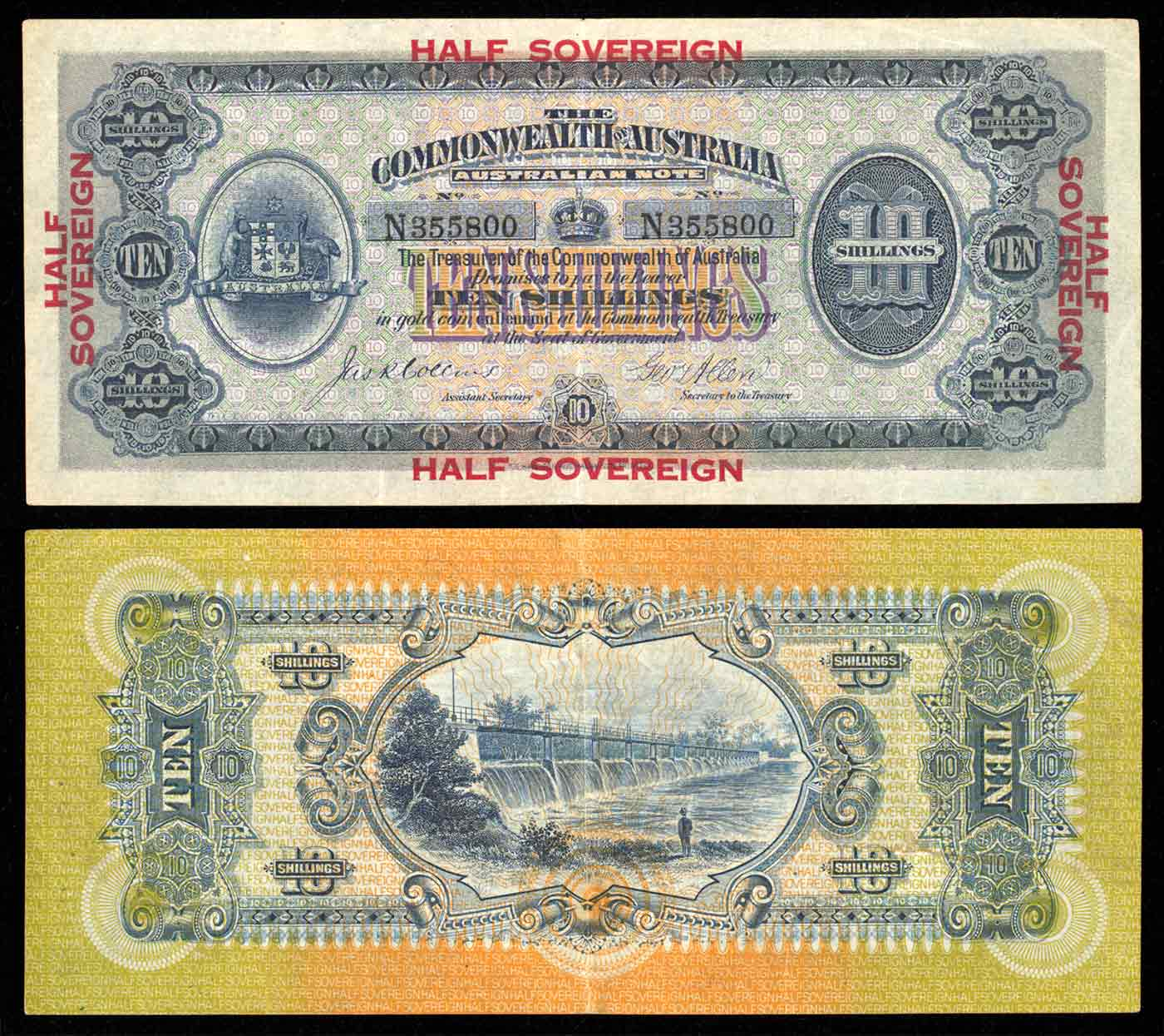 Front and back of a 10-shilling banknote. 'HALF SOVEREIGN' is printed in red on the front. An image of a man standing before a spillway is printed on the back.