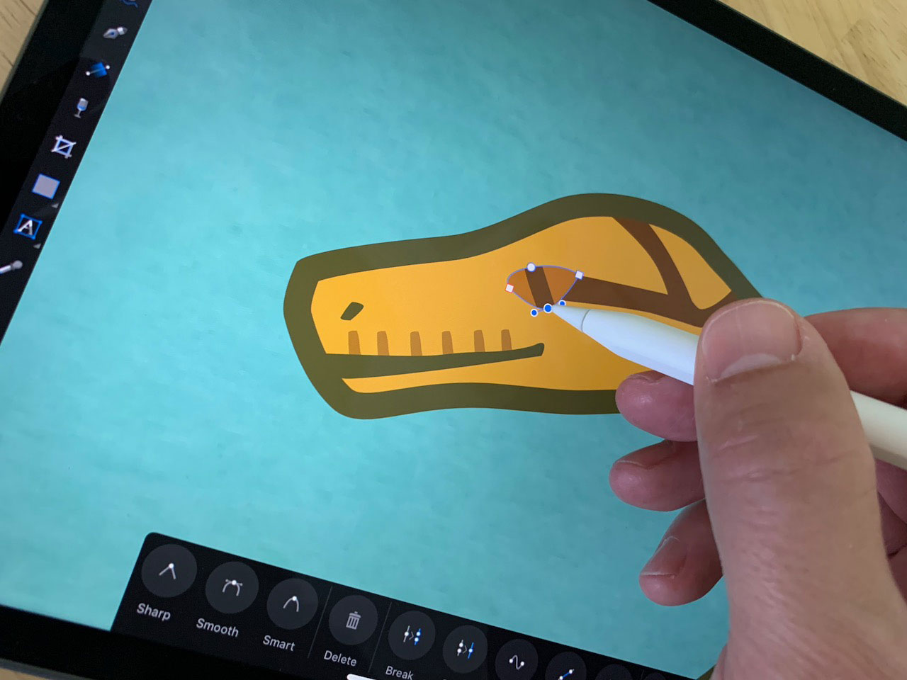 Hand drawing the eye of a snake animation on a digital sketch pad.. - click to view larger image