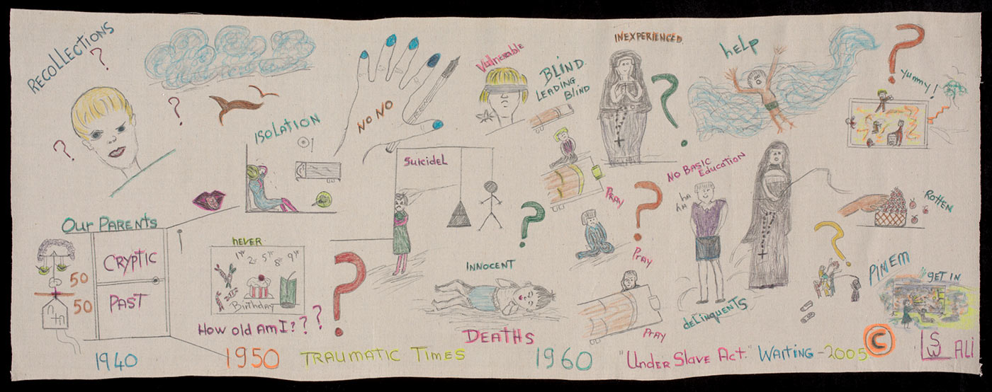 Colour photo showing a pen and felt pen drawing on canvas with a timeline of dates, '1940 / 1950 /1960 / 2005', across the bottom. Various question marks are shown on the work, along with drawings of a baby, a person wearing a blindfold, a nun, a hangman and other figures and symbols. The handwritten text includes 'Traumatic times', 'Innocent deaths' and words and phrases including 'cryptic past, isolation, inexperienced, help, under slave act, How old am I?' The artist's monogram in the lower right hand corner reads 'LSW - ALI'. - click to view larger image