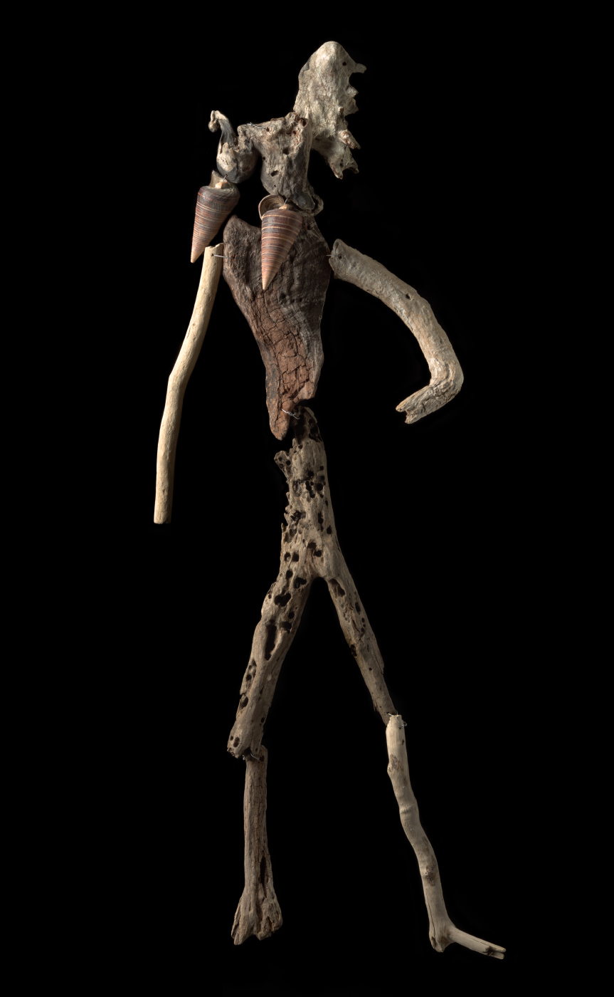 A figurative artwork made from driftwood, shells and galvanised wire. - click to view larger image