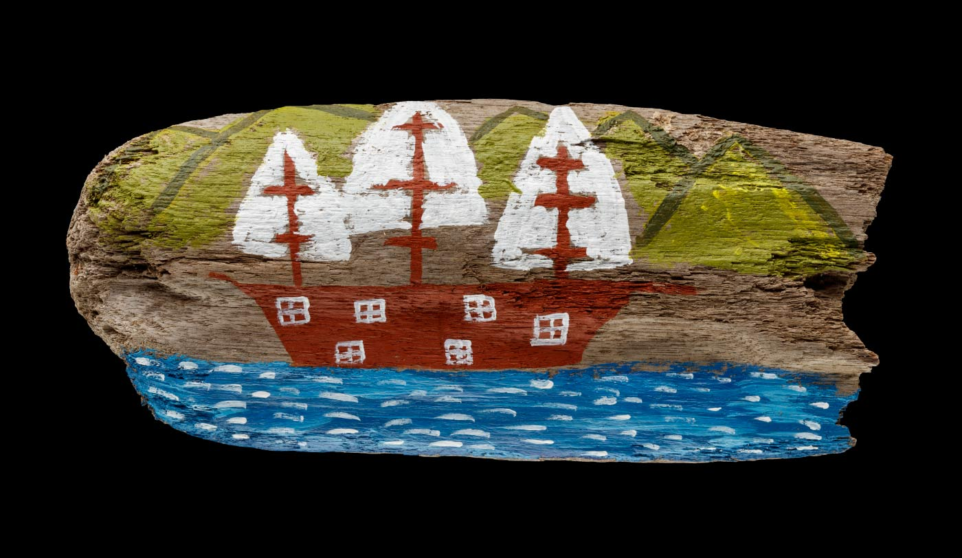 An acrylic painting on driftwood featuring a brown boat at sea with white sails and green hills in the background. - click to view larger image