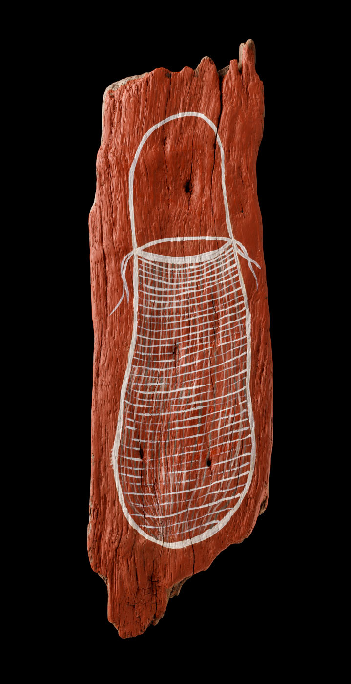 An acrylic painting on driftwood featuring a white bag against a red/brown background. - click to view larger image