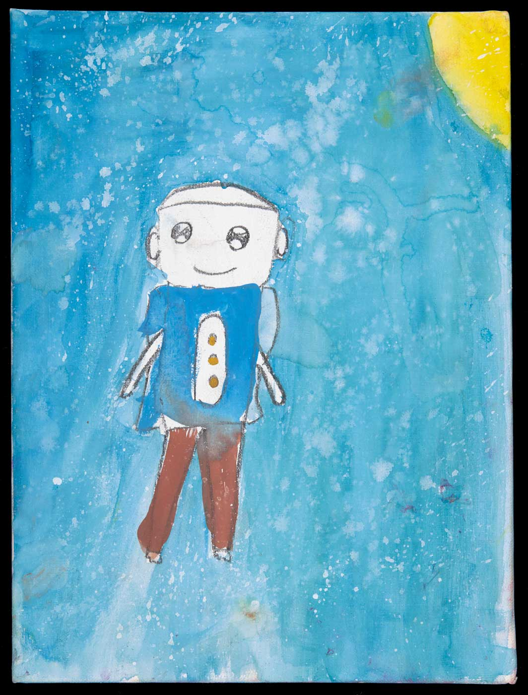 Painting on cotton canvas board, depicting a figure with a blue shirt and brown trousers, a blue background, and a yellow sun in the tip right corner. - click to view larger image