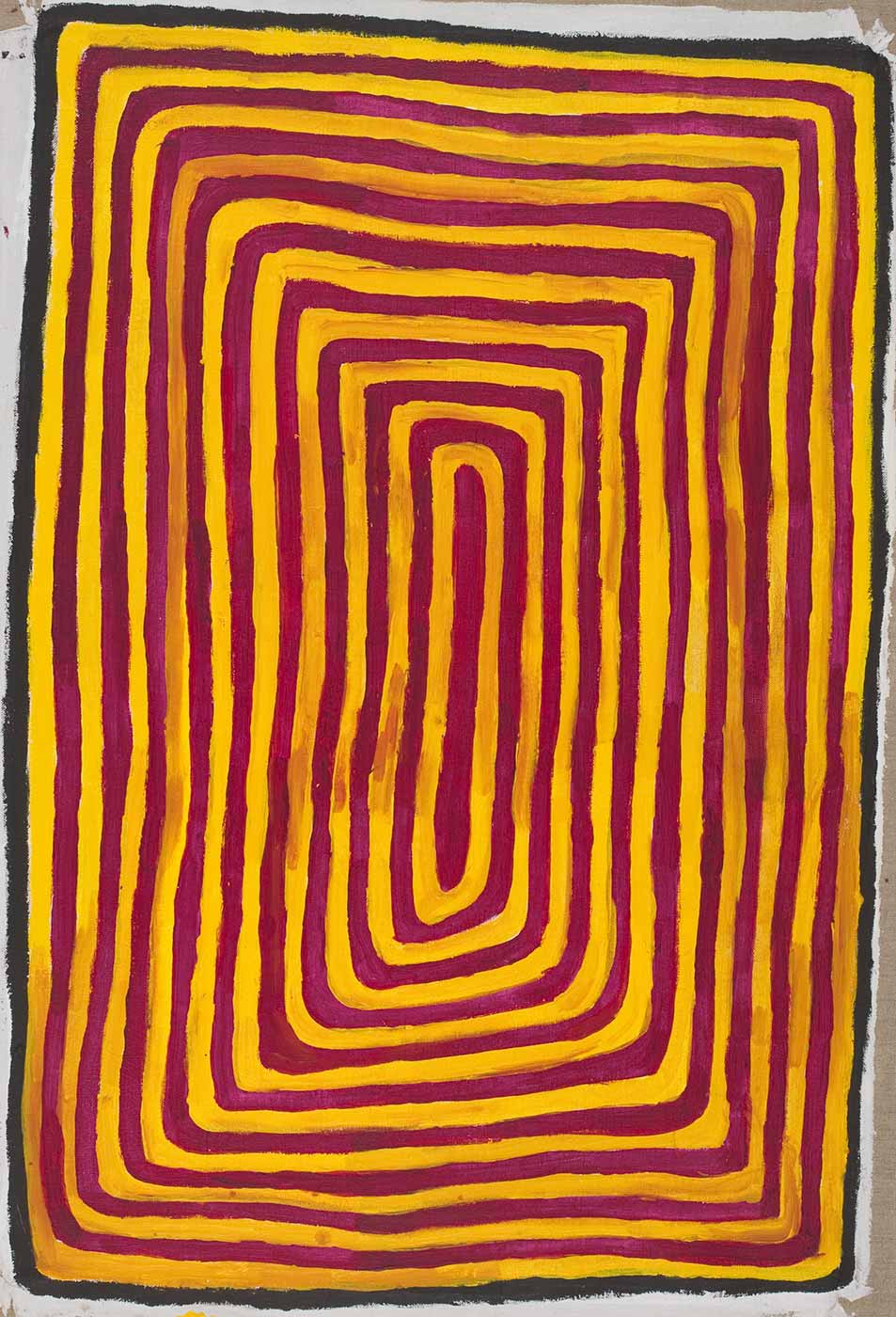 A painting on brown linen of concentric rectangles in yellow and red with a black and white border. - click to view larger image