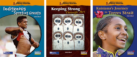 From left to right: Individual cover images for the 'Indigenous Sporting Greats', 'Keeping Strong Through Art' and 'Kaisiana's Journey to Torres Strait' publications.